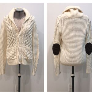 ✨ h&m ivory knit cardigan with elbow patches ✨